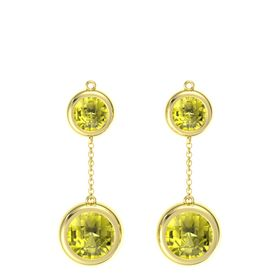 18K Yellow Gold Earrings with Lemon Quartz