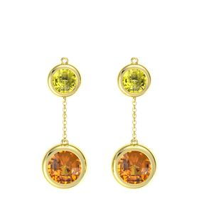 18K Yellow Gold Earring with Citrine and Lemon Quartz