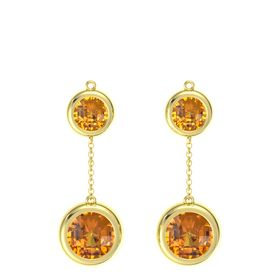 18K Yellow Gold Earrings with Citrine
