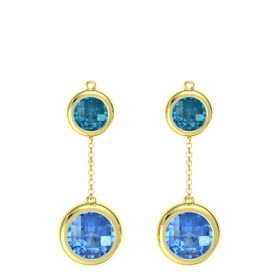 18K Yellow Gold Earring with Blue Topaz and London Blue Topaz