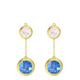 18K Yellow Gold Earring with Blue Topaz and Rose Quartz