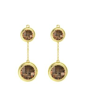 18K Yellow Gold Earring with Smoky Quartz