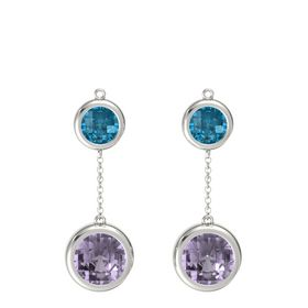 Platinum Earring with Rose de France and London Blue Topaz