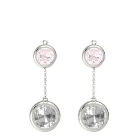 Platinum Earring with Rock Crystal and Rose Quartz