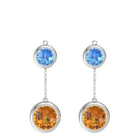 Platinum Earring with Citrine and Blue Topaz