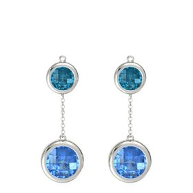 Platinum Earring with Blue Topaz and London Blue Topaz