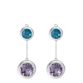 Sterling Silver Earring with Rose de France and London Blue Topaz