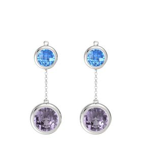 Sterling Silver Earring with Rose de France and Blue Topaz