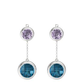 Sterling Silver Earrings with London Blue Topaz & Rose de France