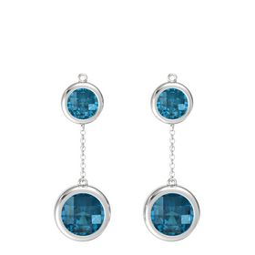 Sterling Silver Earring with London Blue Topaz