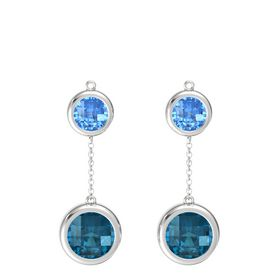 Sterling Silver Earrings with London Blue Topaz & Blue Topaz