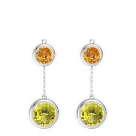 Sterling Silver Earring with Lemon Quartz and Citrine