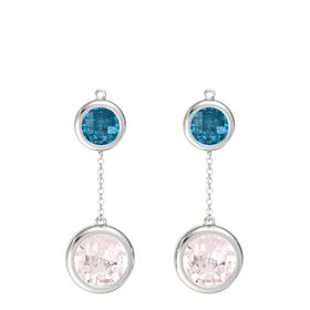 Sterling Silver Earrings with Rose Quartz & London Blue Topaz