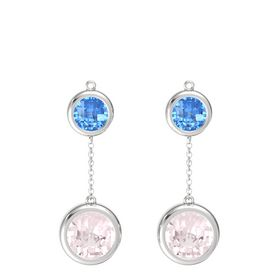 Sterling Silver Earrings with Rose Quartz & Blue Topaz