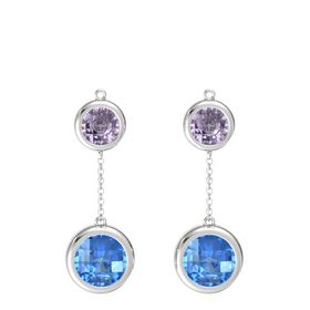 Sterling Silver Earring with Blue Topaz and Rose de France