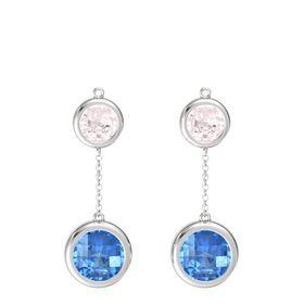 Sterling Silver Earring with Blue Topaz and Rose Quartz