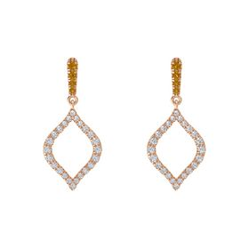 14K Rose Gold Earring with Citrine and Diamond