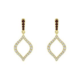 14K Yellow Gold Earring with Red Garnet and Diamond