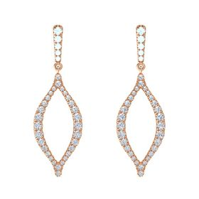 14K Rose Gold Earring with Aquamarine and Diamond