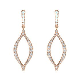 14K Rose Gold Earring with Aquamarine and White Sapphire