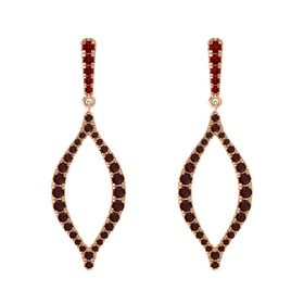 14K Rose Gold Earring with Ruby and Red Garnet