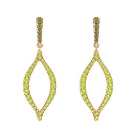 14K Rose Gold Earring with Green Tourmaline and Peridot