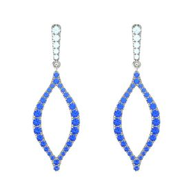 14K White Gold Earrings with Aquamarine & Sapphire