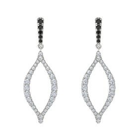 18K White Gold Earring with Black Diamond and Diamond