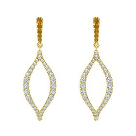 18K Yellow Gold Earring with Citrine and Diamond
