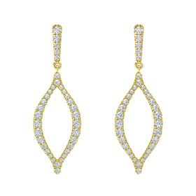 18K Yellow Gold Earring with White Sapphire and Diamond