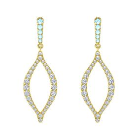 18K Yellow Gold Earring with Blue Topaz and Diamond