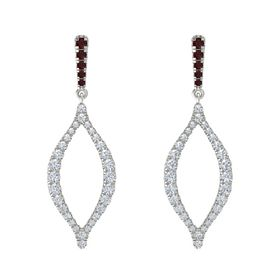Platinum Earring with Red Garnet and Diamond