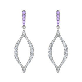 Platinum Earring with Iolite and Diamond
