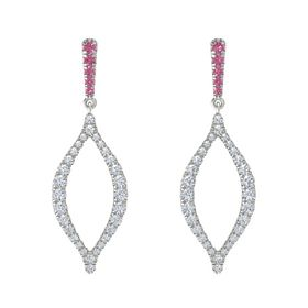 Platinum Earring with Pink Tourmaline and Diamond