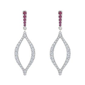 Sterling Silver Earring with Rhodolite Garnet and Diamond