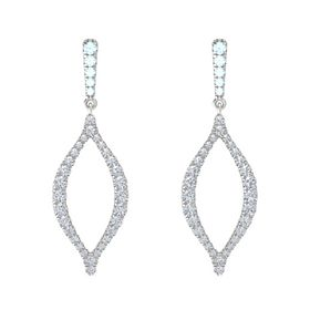 Sterling Silver Earring with Aquamarine and Diamond