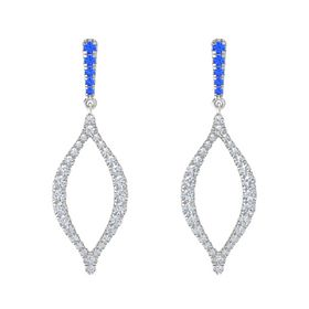 Sterling Silver Earring with Blue Sapphire and Diamond