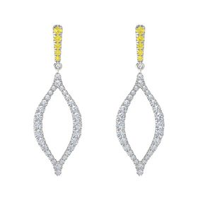 Sterling Silver Earrings with Yellow Sapphire & Diamond