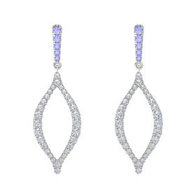 Sterling Silver Earring with Tanzanite and Diamond