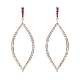 14K Rose Gold Earring with Rhodolite Garnet and Diamond