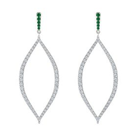 14K White Gold Earring with Emerald and Diamond