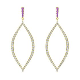 14K Yellow Gold Earring with Amethyst and Diamond