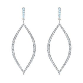 18K White Gold Earring with Aquamarine and Diamond