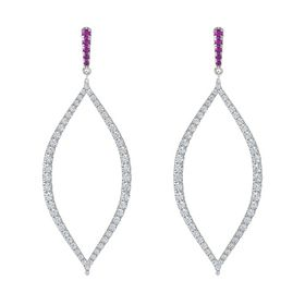 Platinum Earring with Rhodolite Garnet and Diamond