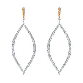 Platinum Earring with Citrine and Diamond