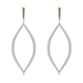 Platinum Earring with Green Tourmaline and Diamond