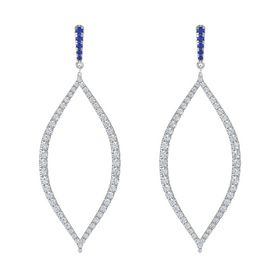 Platinum Earrings with Sapphire & Diamond