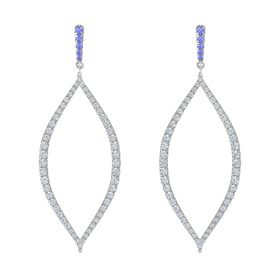 Platinum Earring with Tanzanite and Diamond