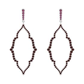 Sterling Silver Earring with Rhodolite Garnet and Red Garnet