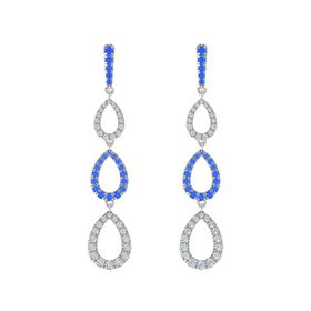 18K White Gold Earring with Blue Sapphire and Diamond